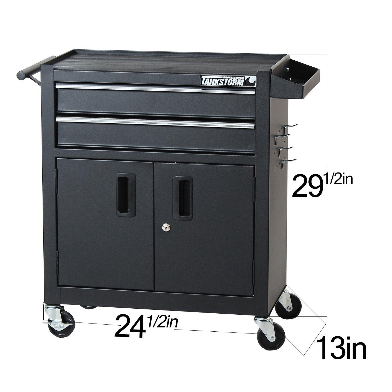TANKSTORM Tool Chest Heavy Duty Cart Steel Rolling Tool Box with Lockable Doors (TZ12 Black) by TANKSTORM (Image #2)