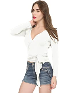 8ad495bd56b11 Maggie Tang Women s Convertible Long Sleeve Casual Wrap Cross Over Blouse  Top