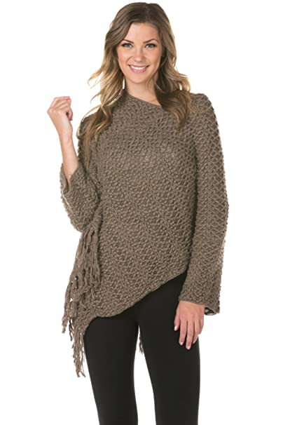 Knitted Warm Tassel Edge Poncho Cape Scarf Shawl Wrap With Sleeves