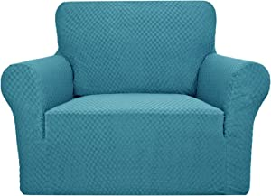 YUUHUM Creative Design Chair Covers for Living Room 1 Piece Stretch Chair Slipcovers with Arms Stretchable Elastic Sofa Couch Armchair Slip Cover Protector with Foam Rods (Chair, Peacock Blue)