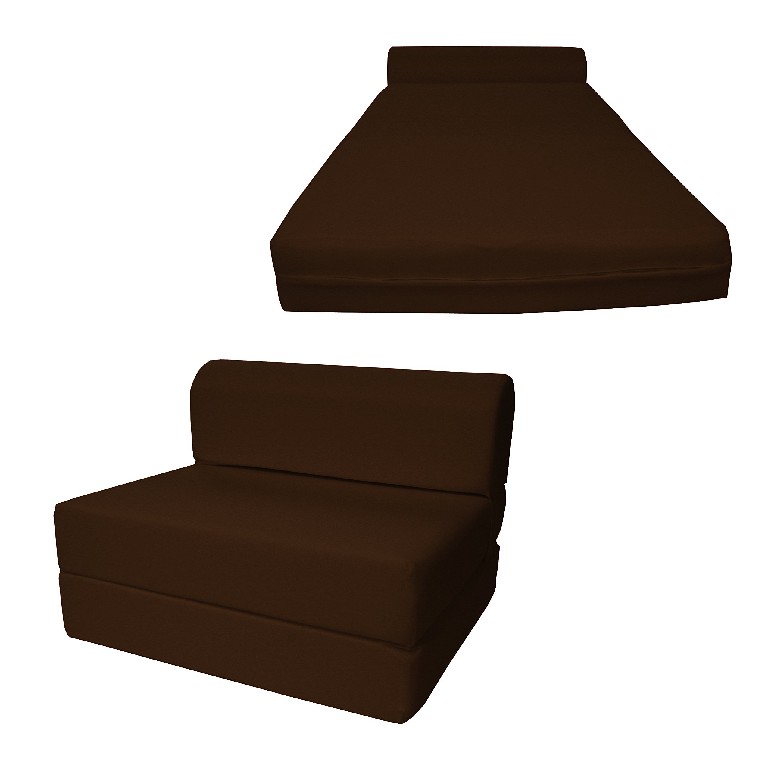 6'' Thick X 36'' Wide X 70'' Long Twin Size Brown Sleeper Chair Folding Foam Bed 1.8lbs Density, Studio Guest Foldable Chair Beds, Foam Sofa, Couch.