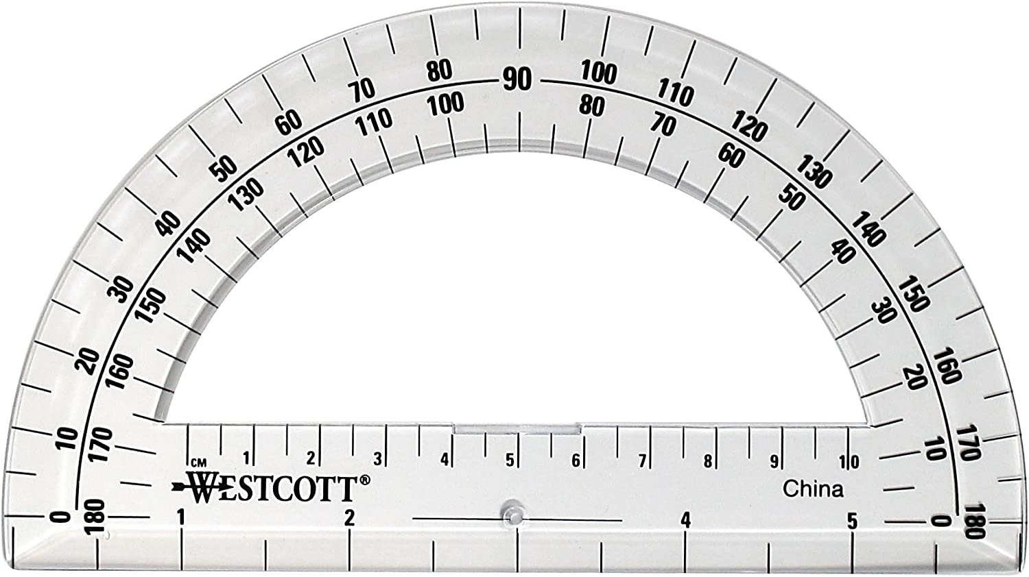Westcott 6-Inch Plastic 180 Degree Protractor, Clear: Arts, Crafts & Sewing