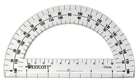 graphic relating to Printable Protractor called Westcott 6-Inch Plastic 180 Amount Protractor, Crystal clear