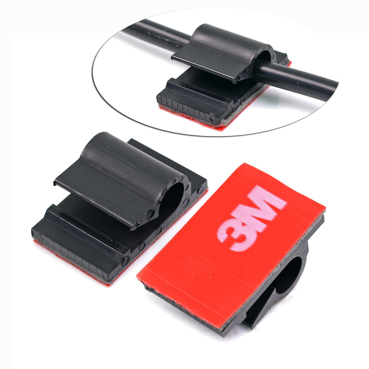 Inewcow 3m Adhesive Tape Car Cable Holder Wall Wire Advanced Race Wiring Clips To Clamp Lines 20pcs Black Automotive
