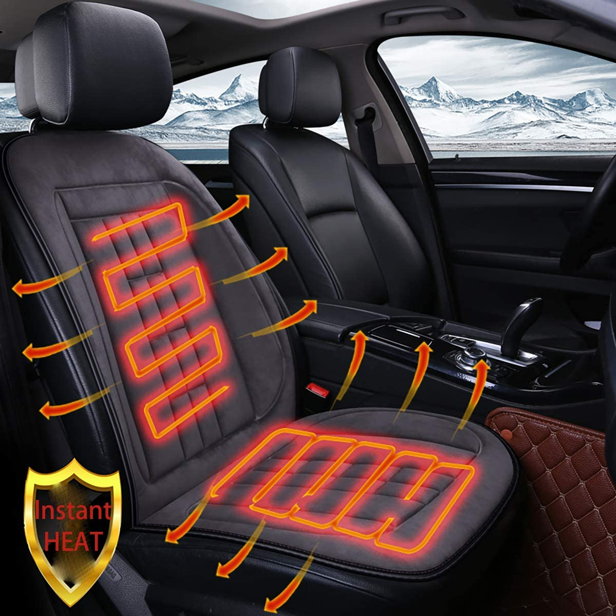 INCH EMPIRE Heating Car Seat Cover Non-Slip Fast Heat Pad Velvet Surface 12V Electronic Heated Universal Fit Simple Style with Stitched Square Warm for All Types of Cars in Cold Winter Grey Square