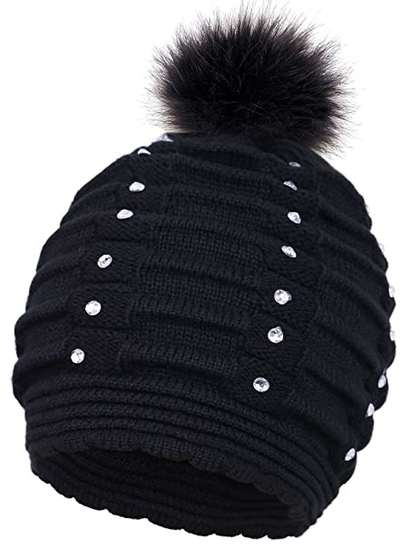 6902e8d79a6 EPGM Women s Thick and Warm Knit Winter Pompom Beanie Hat w Sequins ...