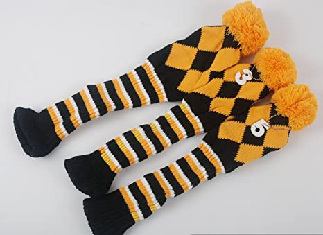 Amazon Com Dark Horse 3pcs Set Golf Club Argyle Knit Head Covers
