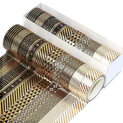 10 Rollen Washi-Tape-Set Gold Blumenmuster blau-10 Rollen dekoratives Masking Washi-Tape f/ür Scrapbooking Geschenkverpackungen und DIY-Projekte Folie