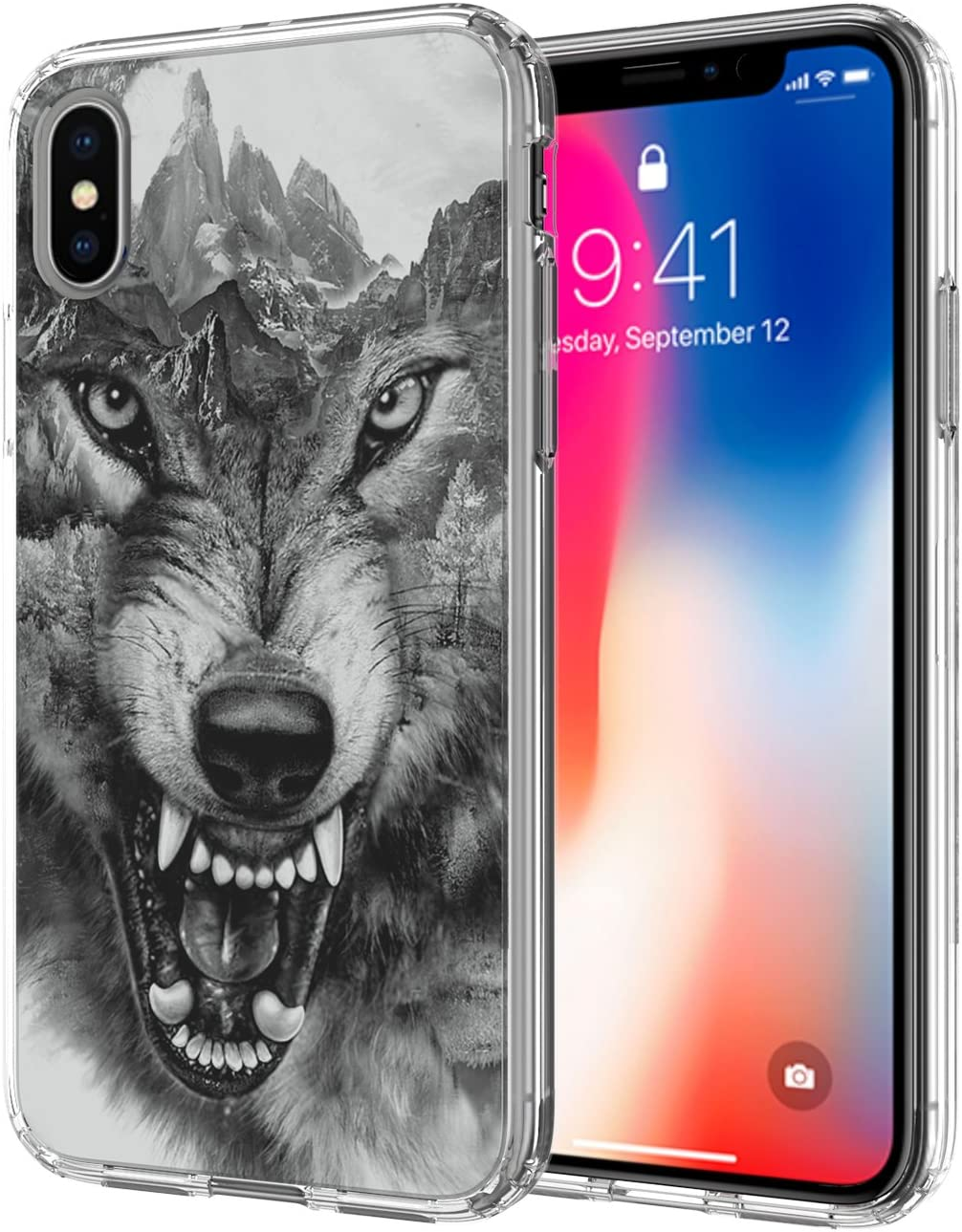 Case for iPhone Xs Max, Ailiber Animal Wolf Direwolf Wild Design Slim Light Soft TPU Shockproof Corners Bumper Protective Cover for Apple iPhoneXSMax XsMax 2018 6.5inch - Grey Wolf