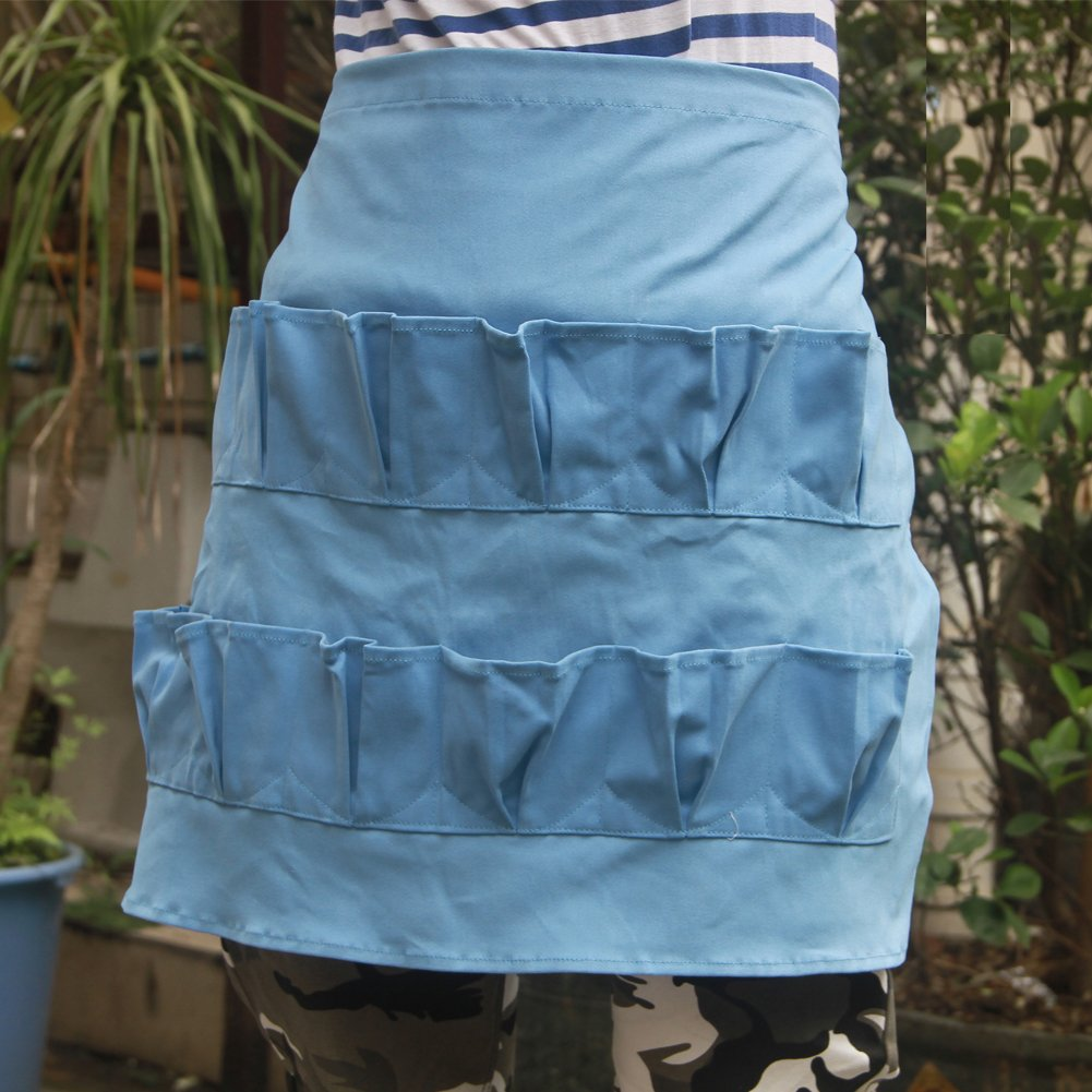 Chicken Egg Gathering and Collecting Apron with 12 Pockets Egg Apron Perfect for Farmer House-hold Clever Housewife Must Have Apron Best Valentine's Day Gift For Girlfriend Wife Mom HSW-026 blue