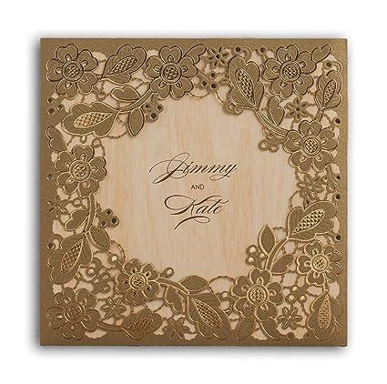 ce01400b4eb21 Wishmade CW5279 - Tarjetas de invitaciones de boda con corte láser dorado  con tarjeta floral hueca