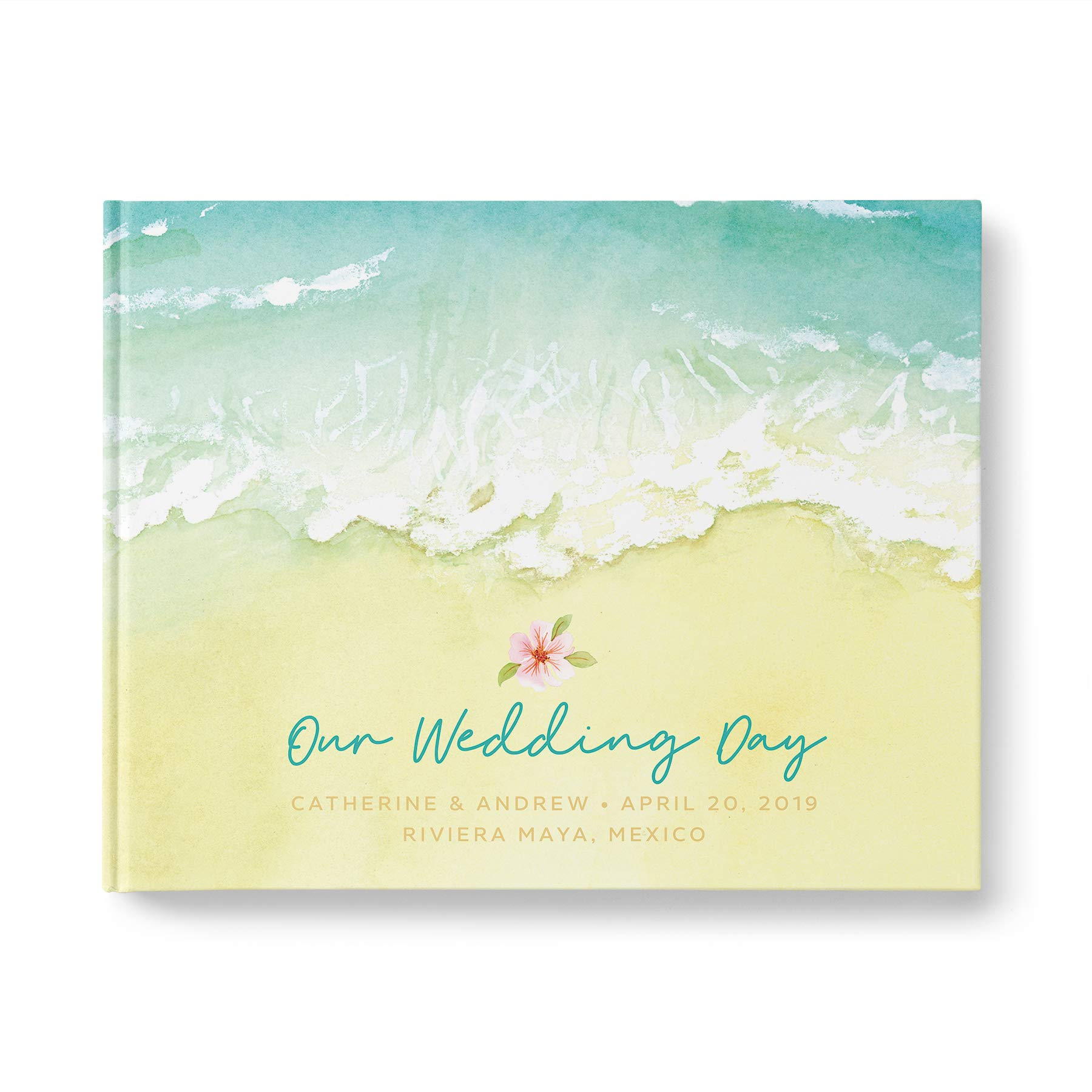 Beach Wedding Guest Book with Blank White Pages, Personalized Guestbook, Casebound Hardcover, Landscape 10.9 x 8.75 inch, 40 Acid-Free Sheets (80 Pages Total)