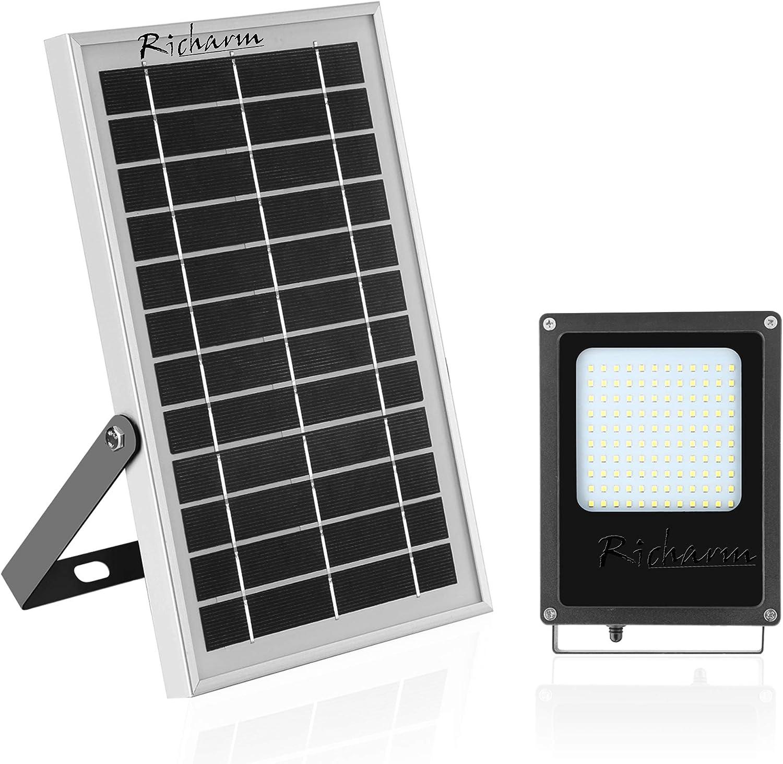 "Richarm Solar Flood Lights Outdoor Solar Powered Led Floodlights Light Sensor 7.4""x11.4"" 6V/6W Solar Panels with 800LM 6500K 120 LEDs Switch on Off Lights for Shed,Billboard,Garden,Patio"