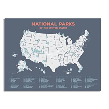 Amazoncom US National Parks Map Black USA Map Poster Map Of - Map ou us