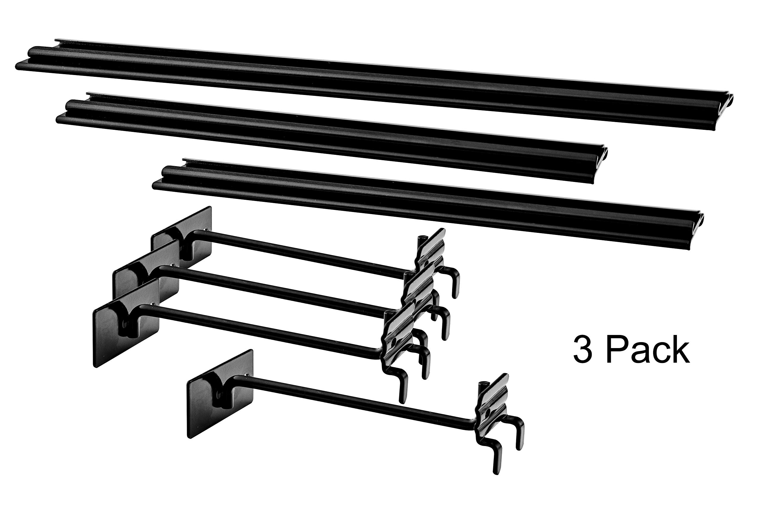 Marketing Holders Slatwall Pegboard Displays Extended Graphic Holder Sign Extender Pack of 3 Metal (2) 12'' and (1) 16''
