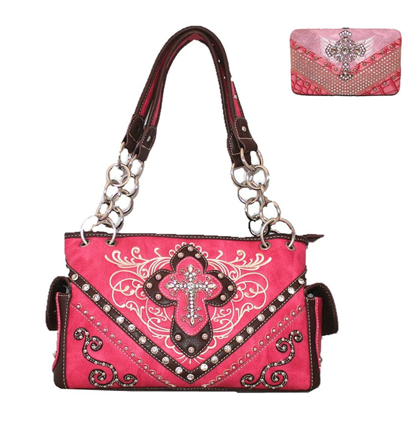 Western Rhinestone Cross Tooled Leather Cowgirl Women's handbag with Matching wallet One Set