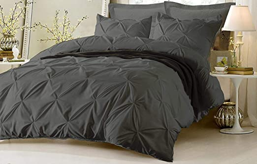 California Bedding 800 Thread Count Egyptian Cotton Twin//Twin-XL 68x90 Size Ultra Soft 1 Piece Diamond Ruffle Duvet Cover Button Closure /& Corner Ties Breathable /& and Fade Resistant Black Solid