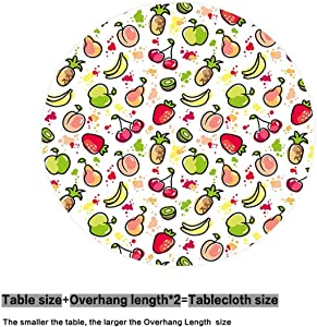 oobon Round Tablecloth, Watercolor Pear Cherries Kiwi Apple Brushstroke Splashes Cute Kids Kitchen, Banquet Wedding Party Picnic Circle Table Cloths, 55 inches Round