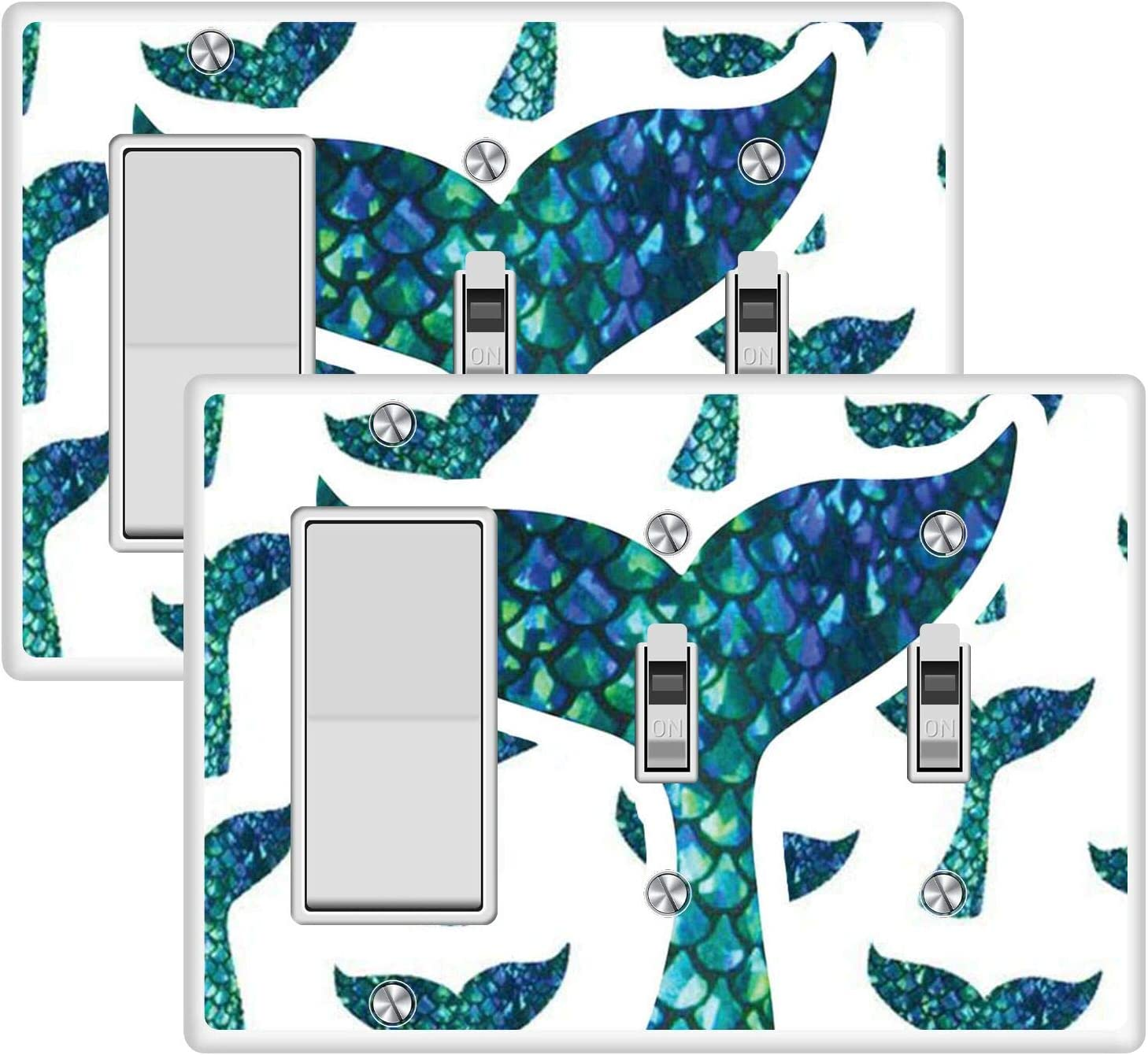 KANGHAR Wallplates Mermaid Tail Square Single Decor+Double Toggle White Outlet Wall Plate Cover
