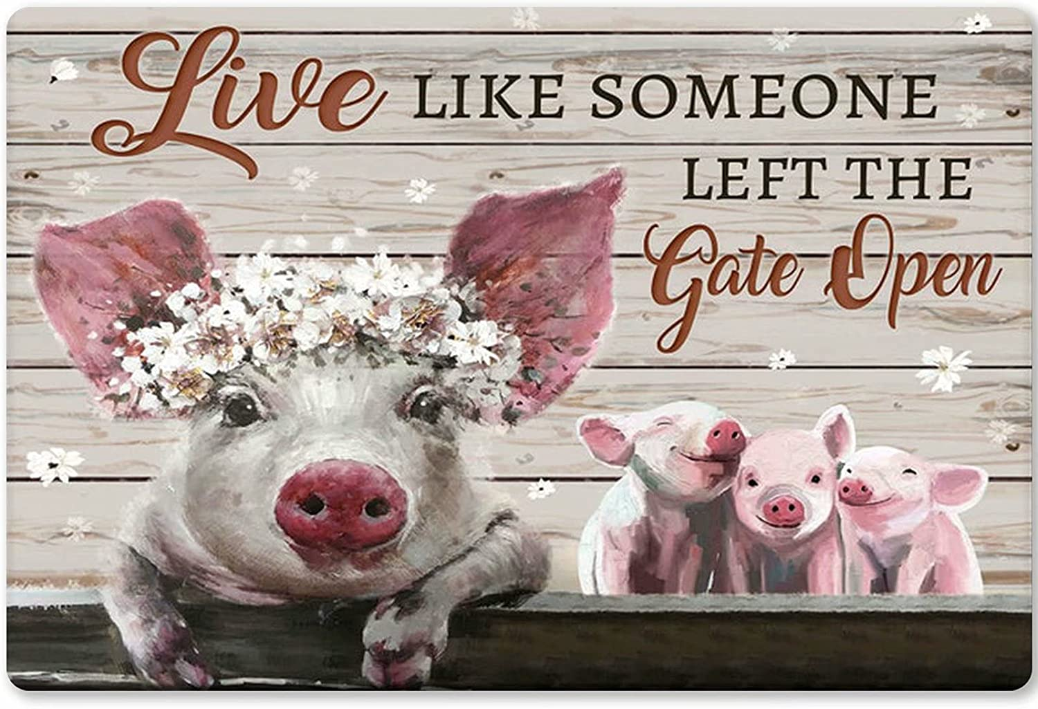Live Like Someone Left The Gate Open Pink Pig Fun Tin Sign Old-Fashioned Farm Kitchen Bathroom Bar Home Wall Decoration 12x8 Inches