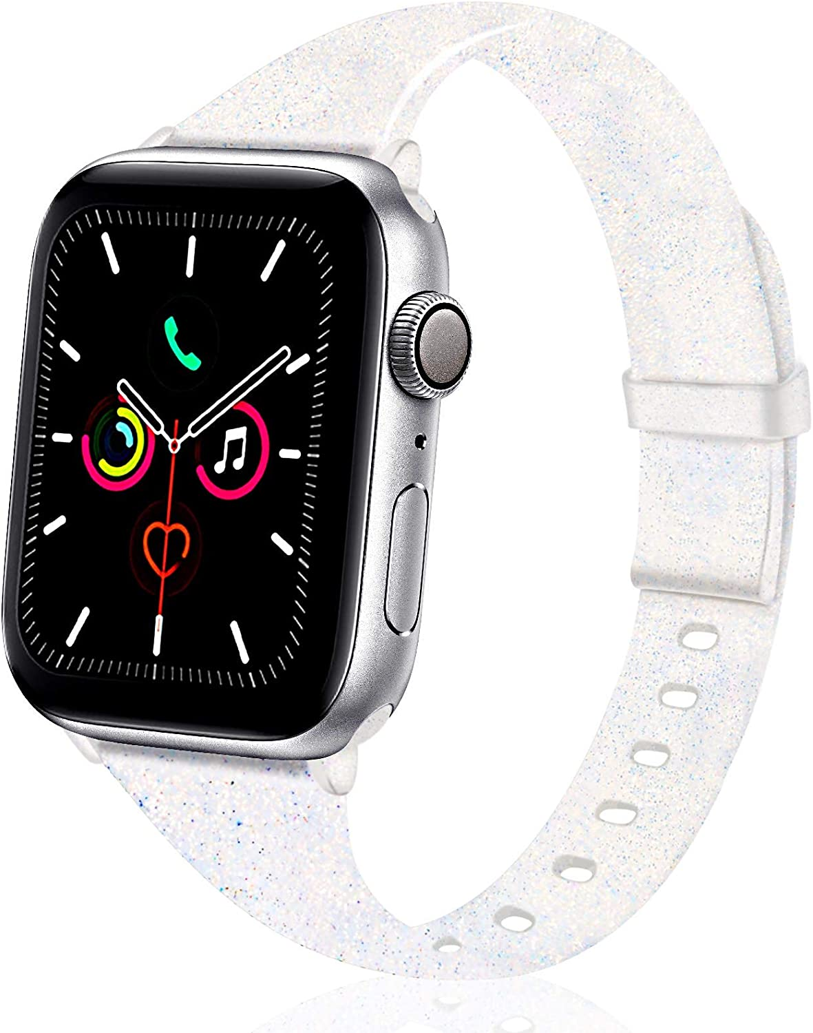 TSAAGAN Glitter Slim Silicone Band Compatible with Apple Watch 38mm 42mm 40mm 44mm, Sparkly Bling Thin Replacement Wristband Accessory for iWatch Series 5/4/3/2/1 (Glitter Colorful, 38mm/40mm)