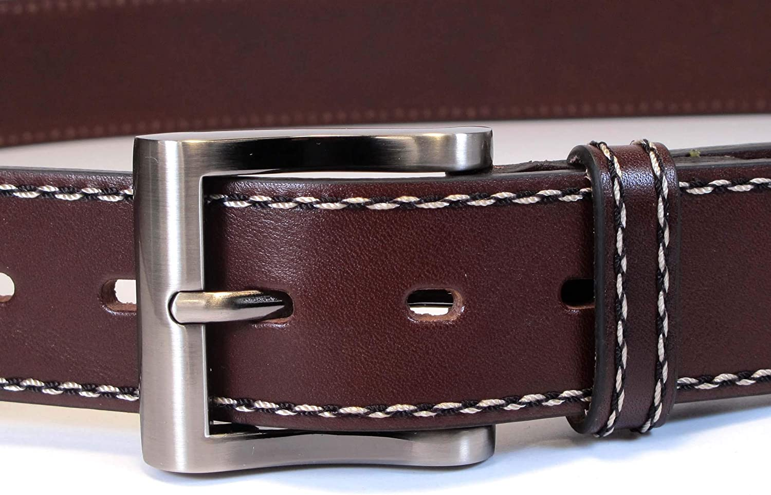 Geniune Leather Dark Brown Belt Long XL M S Stitch Thick Casual Jean 1 1//2 Wide