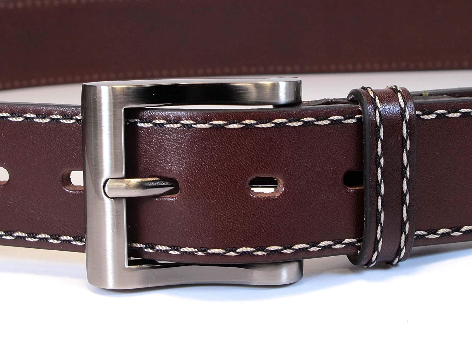 Mens Real Genuine Leather Belt Black Brown White 1.5 Wide S-XL Casual Jeans CU6