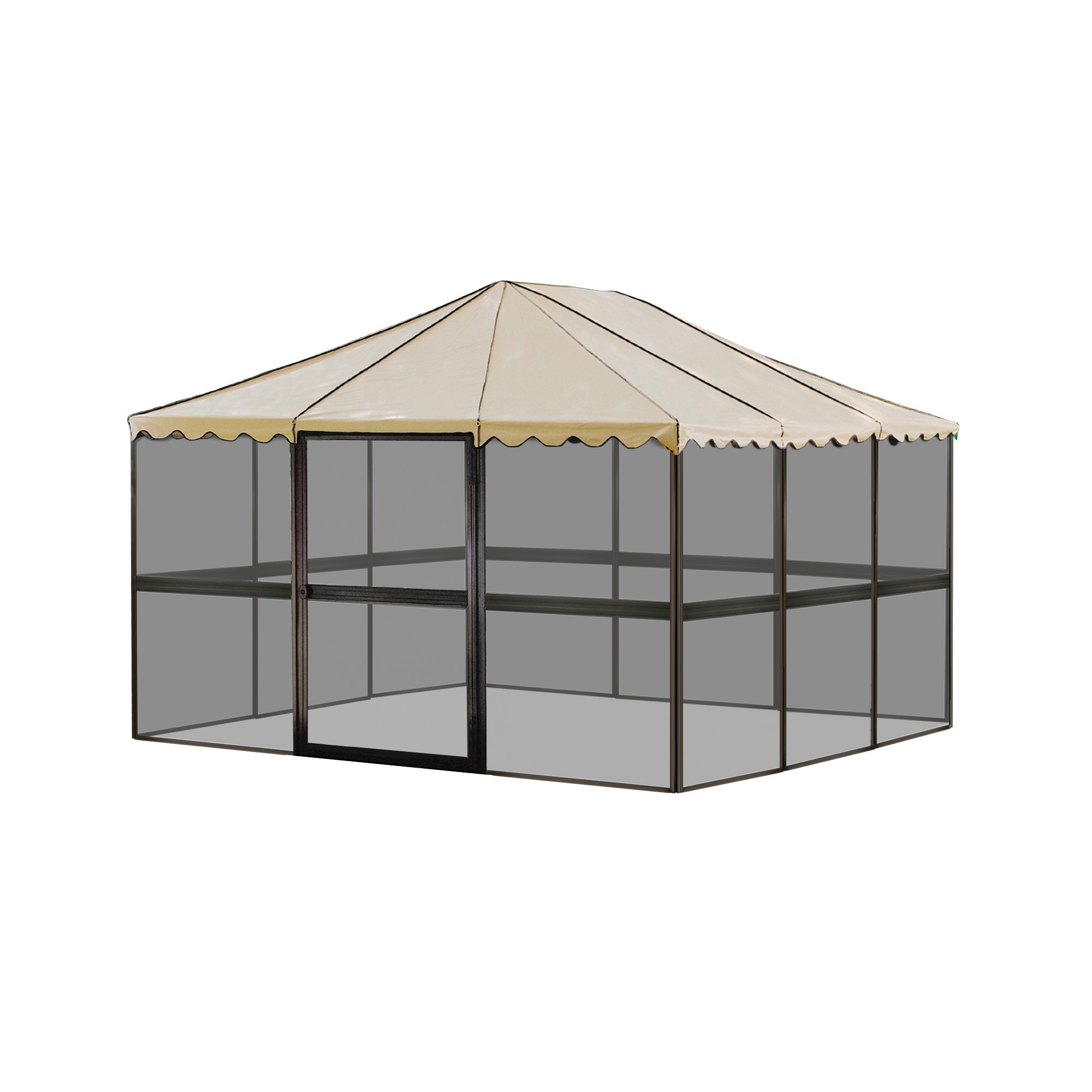 Casita 12-Panel Square Screenhouse Model 21165 Brown with Almond Roof Canopy