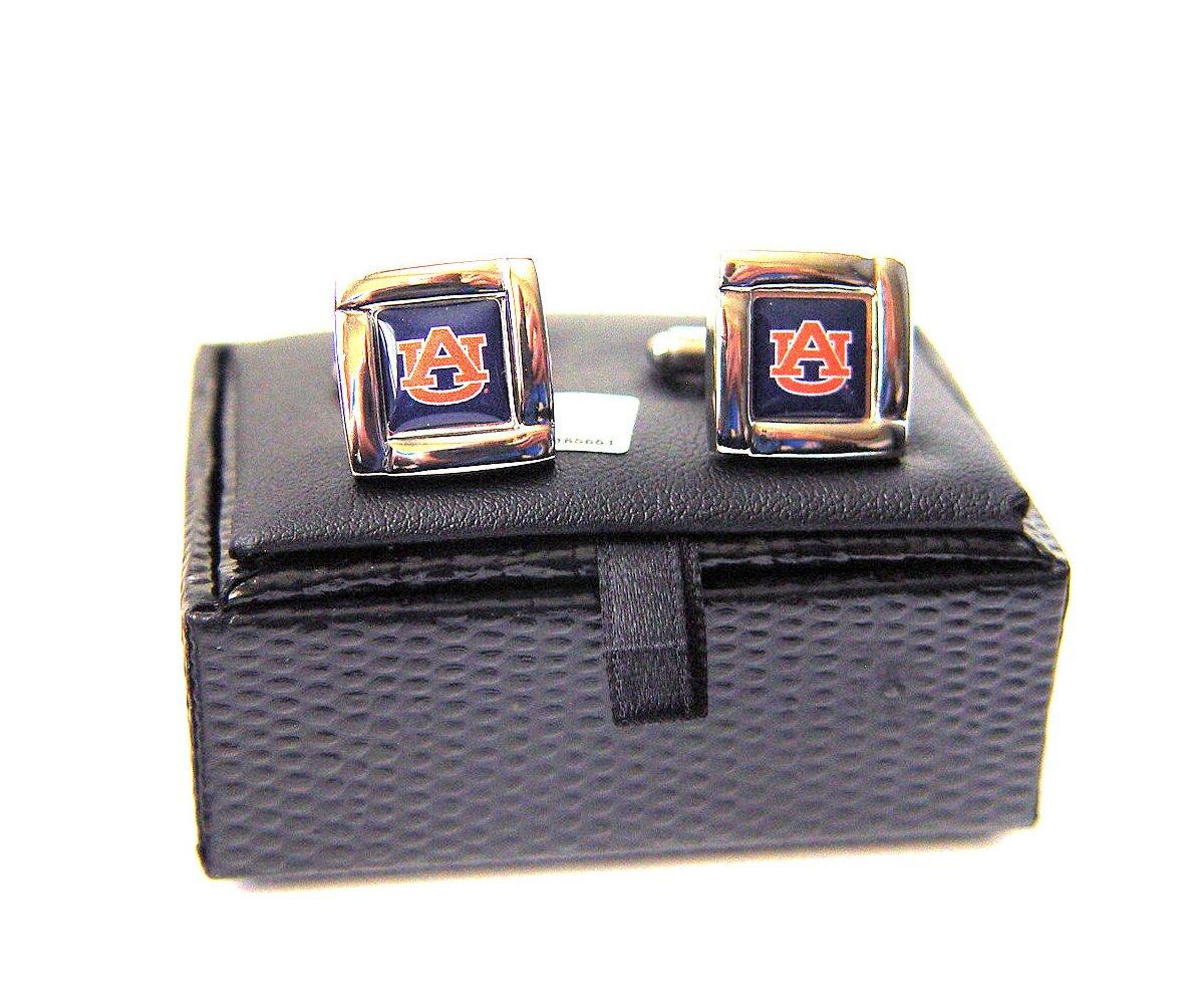 aminco NCAA Auburn Tigers Team Logo Square Cufflinks with Square Shape Logo Design Gift Box Set