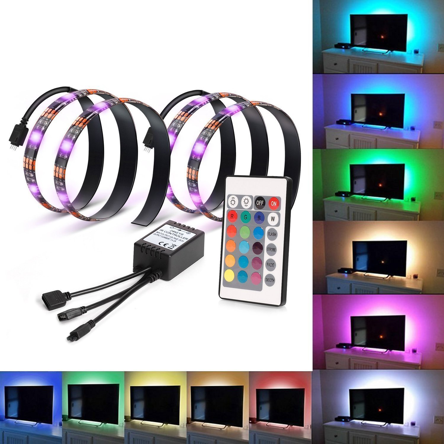 RGB TV Backlight Kit USB LED Strip Light Neon Accent Bias Lighting with 24keys Remote Controller for 24 to 65inch HDTV LCD Desktop PC Monitor (Set of 2)