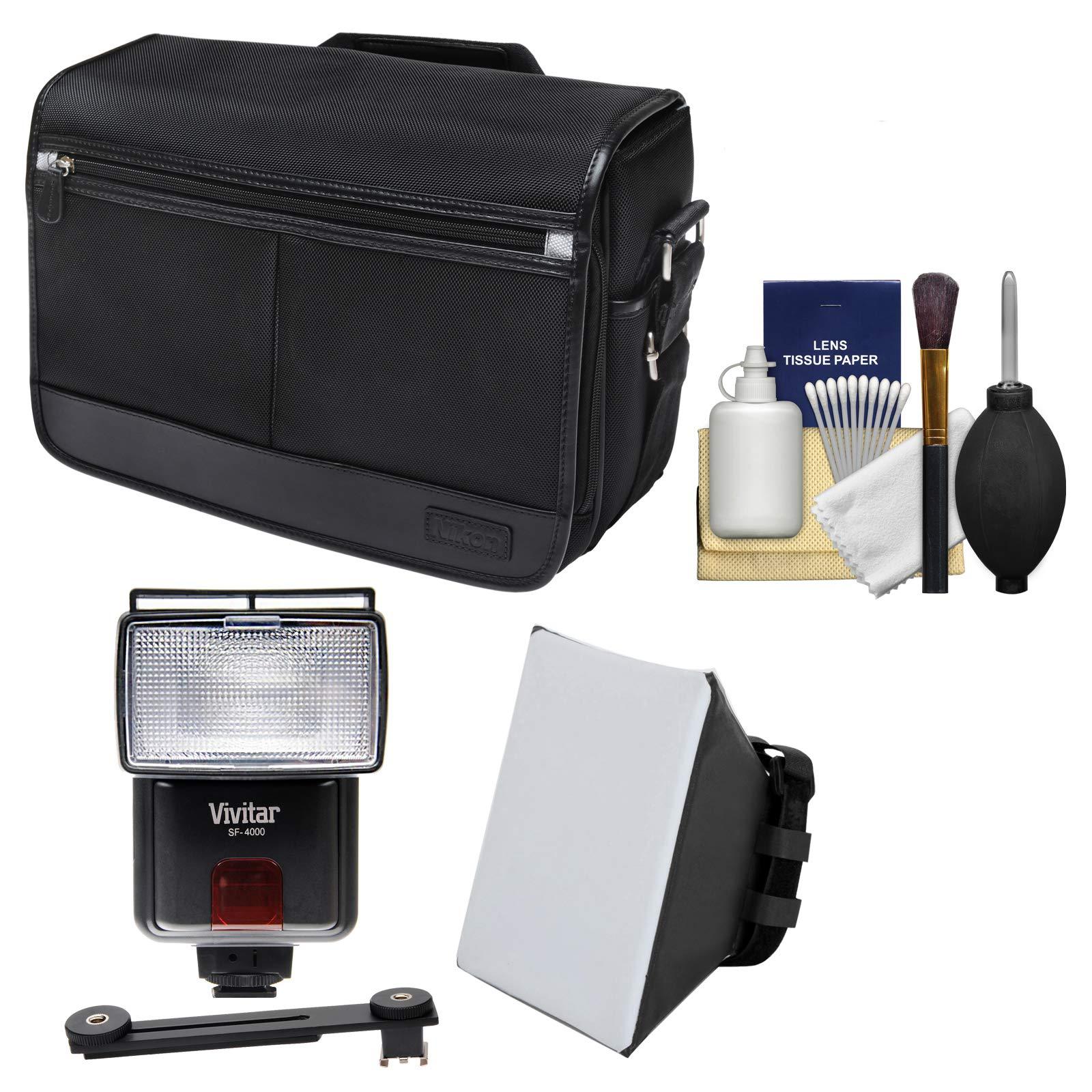Nikon DSLR Camera/Tablet Messenger Shoulder Bag + LED Video Light & Flash + SoftBox + Diffuser Kit for D810, D750, D610, D7200, D7100, D5500, D5300, D3300, D3200
