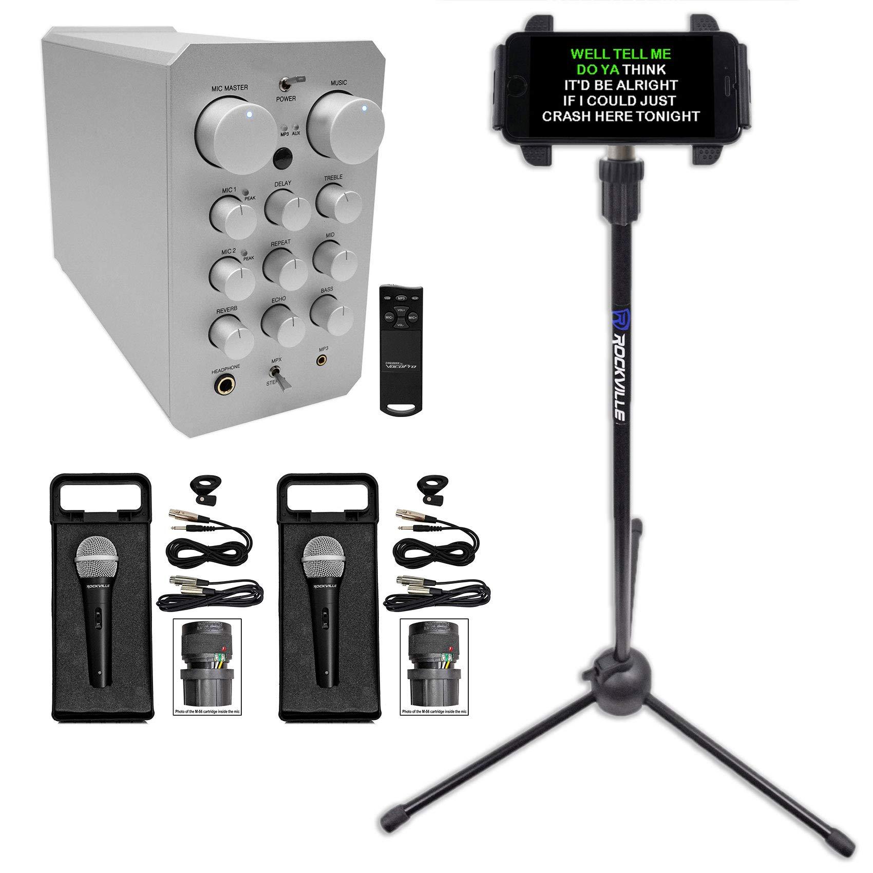 VOCOPRO CASAMAN 200w Digital Karaoke Powered Receiver Mixer+Tablet Stand+2) Mics