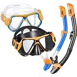 OMORC Snorkel Set for Couples,2 Pack Anti-Fog Tempered Glass Snorkel Sets,Free Breathing Anti-Leak Snorkeling Package…