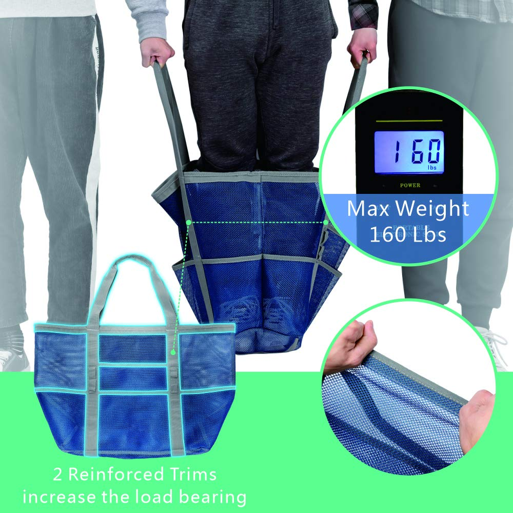 Large Beach Tote Bag with Multiple Pockets for Beach Picnic Blue Cambond Mesh Beach Bag