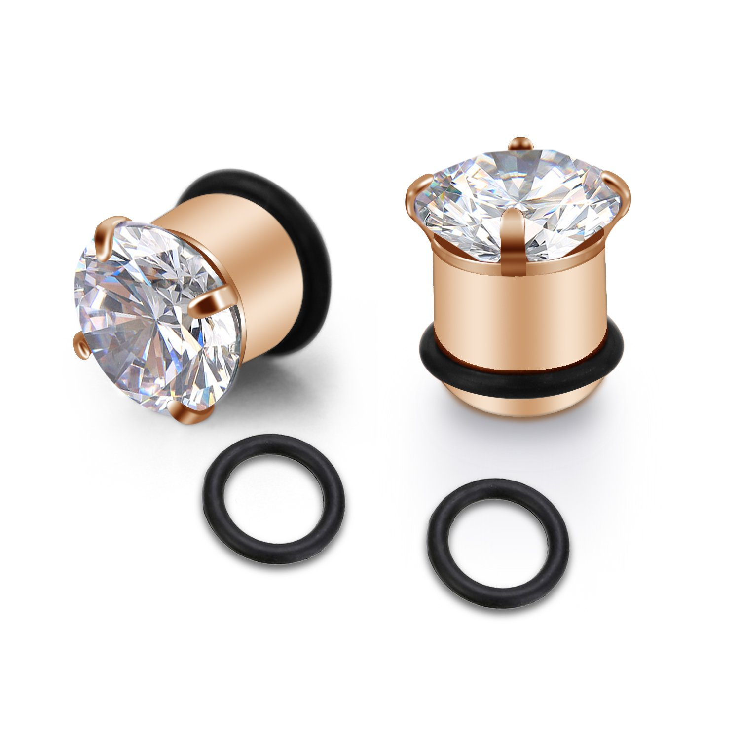 Fectas Ear Gauge Stretching Tunnels Expander Stretcher Plugs with O-Ring Piercing Jewelry Rose Gold 8G-1/2 UK_B07CJNC6BF