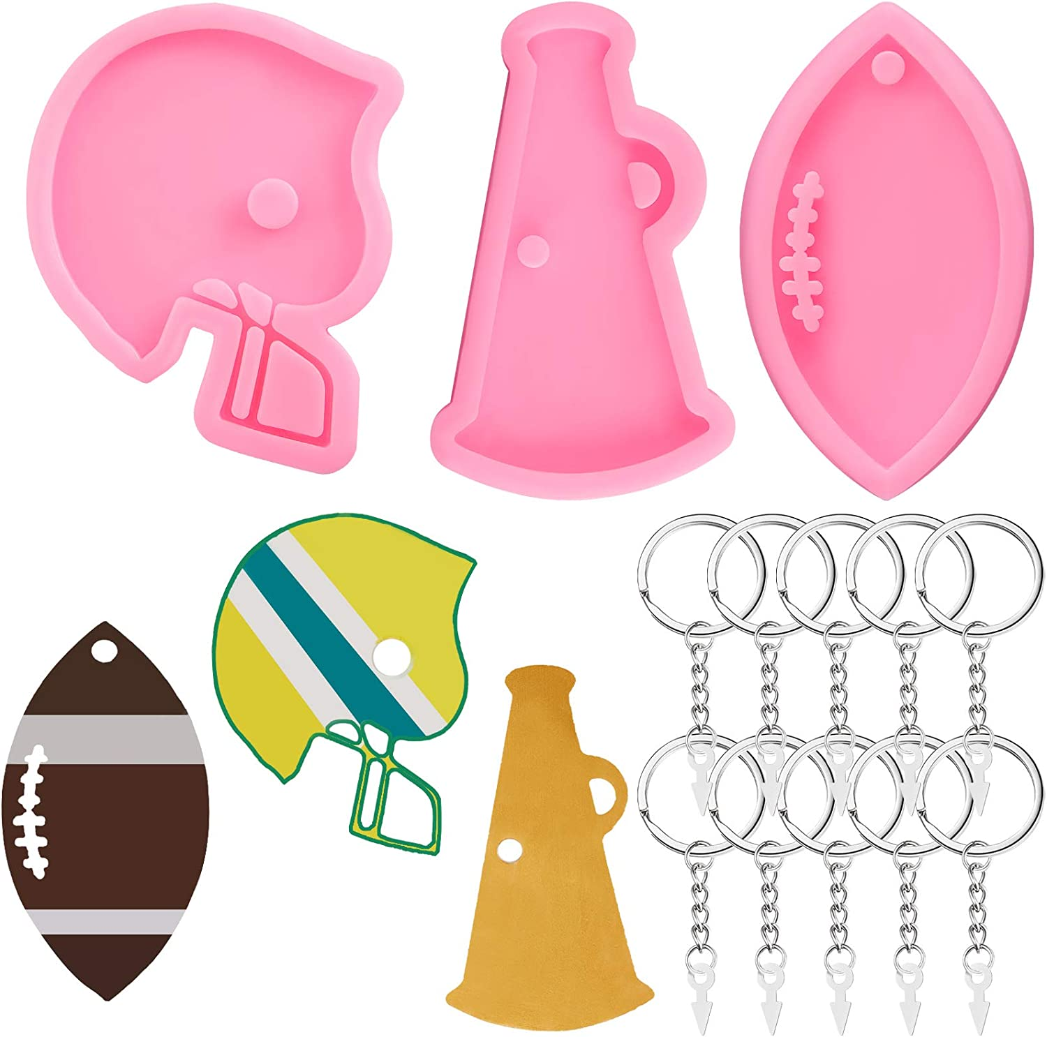 3 Pieces Football Silicone Keychain Mold Helmet Megaphone Fondant Mold Rugby Keychain Pendant Clay Mold with 10 Pieces Key Rings for Making Keychains Desserts Soaps