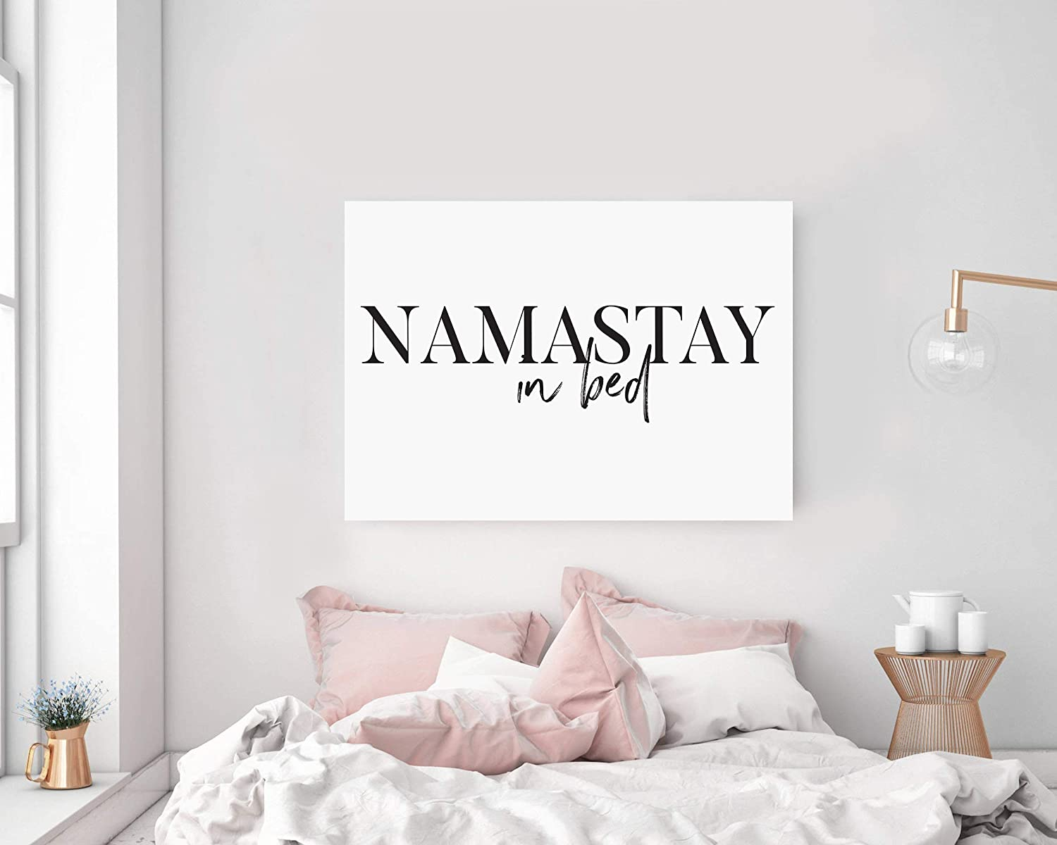 Amazon.com: TimPrint Namastay in Bed Wall Art Namaste in Bed ...