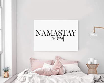 amazon com timprint namastay in bed wall art namaste in bed print rh amazon com wall decor for bedroom ideas wall decor for bedroom above bed