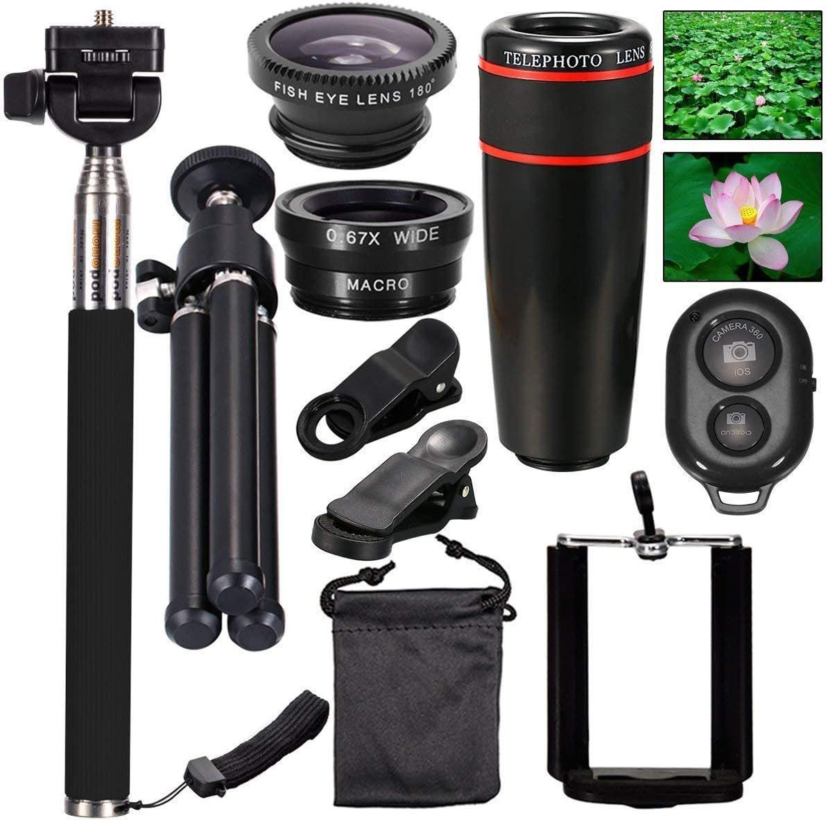 10 in1 Camera Lens Kit ,AnKooK 8x Telescope Lens + Macro Lens + Selfie Stick Monopod + Bluetooth Remote Control + Mini Tripod for iPhone 8/8 Plus, Samsung Galaxy S9 Edge and Smartphone