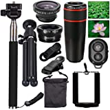 AFAITH 10 in 1 Phone Camera Lens Kit, 8X Zoom Telephoto Lens + Wide Angle + Macro & Fisheye Lens+ Phone Holder Tripod + Selfie Stick with Remote Shutter Compatible iPhone X/8/7/6 and Other Smartphone