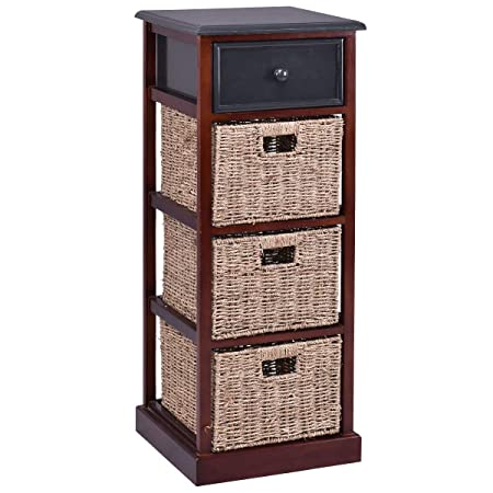 Giantex Nightstand W 1 Drawer and Baskets Bins Wooden Frame Bedside Sofa Table Organizer Home Bedroom for Living Room Storage Organizer Shelf Cubbies Furniture Red Brown End Table 37.4 H