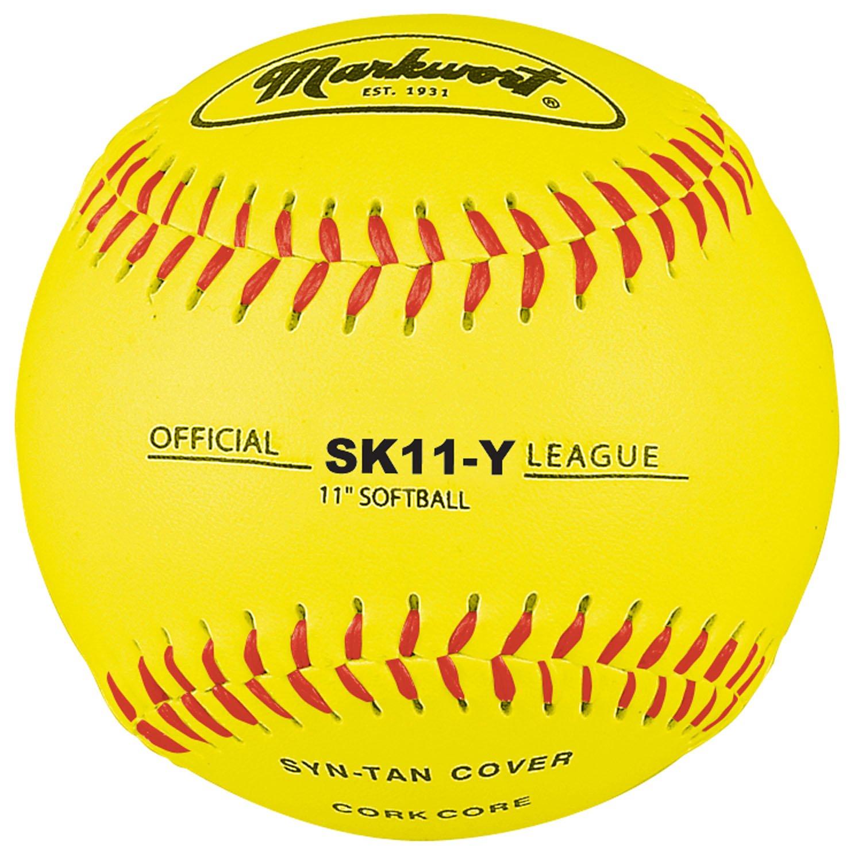 Markwort 11-Inch Synthetic Leather Cover Softball Dozen