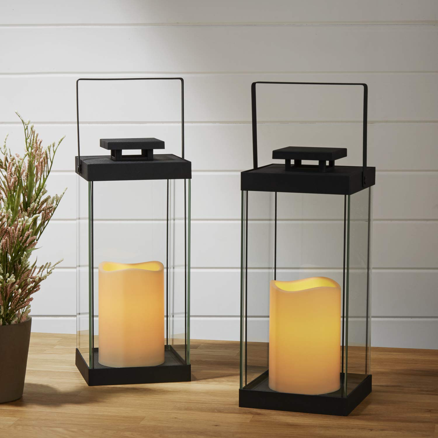 Remote /& Batteries Included Indoor//Outdoor Use Black Metal Finish 14.5 Height Set of 2 Warm White LEDs Large Glass Flameless Candle Lanterns