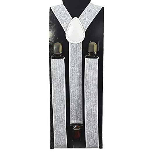 4ae63dc2972 Image Unavailable. Image not available for. Color  Fashion Silver Glitter  Suspenders-1 piece