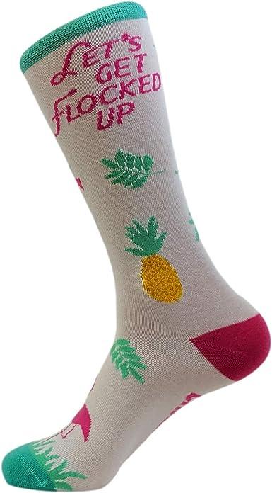 Women/'s Let/'s Get Flocked Up Socks Funny Tropical Flamingo Footwear