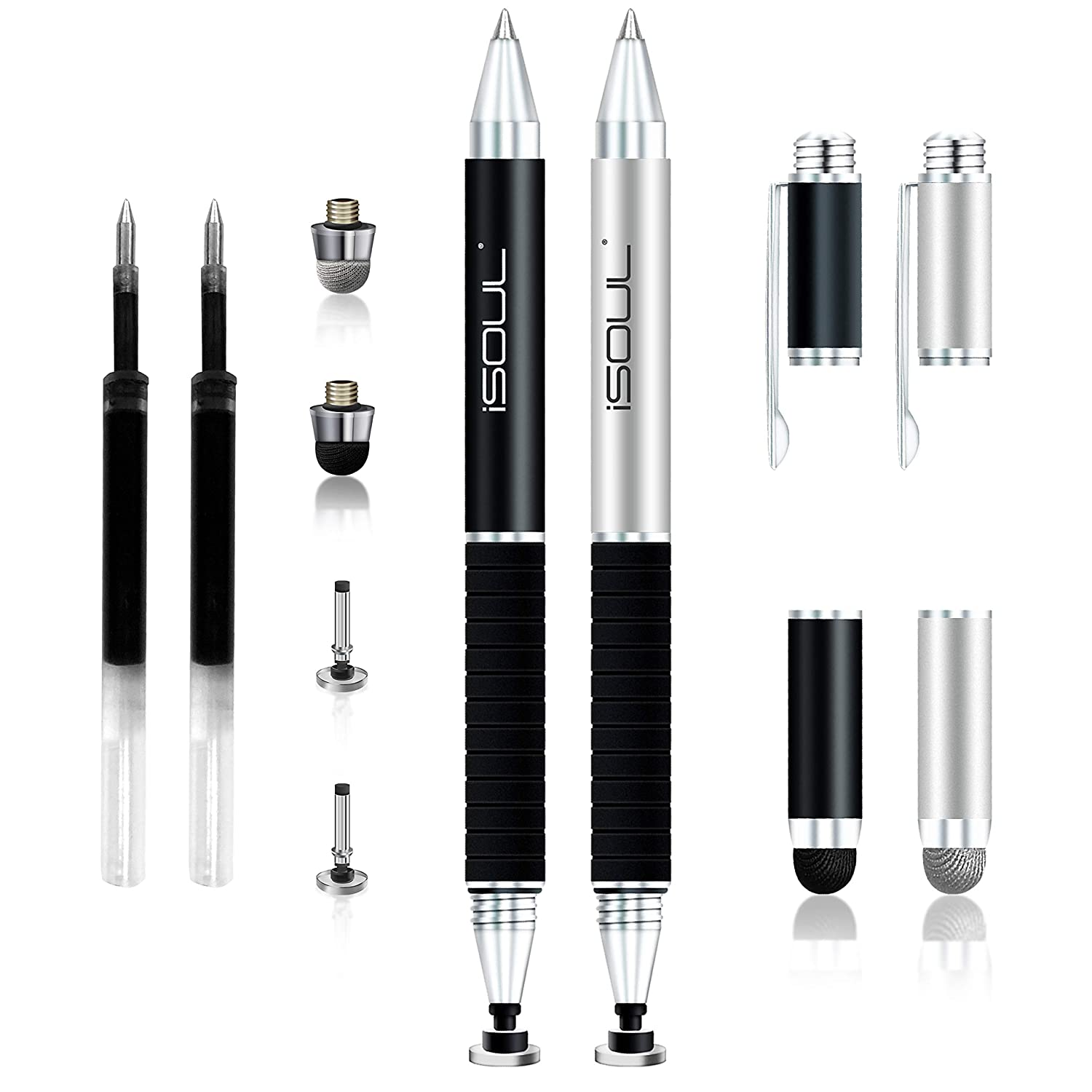 iPad Disc Stylus Pen Galaxy Oneplus iPhone Gel Pen 3 in 1 Universal Capacitive Stylus Pen with 2Pcs Replacement Tips for Smartphones Tablet Stylus ISOUL Fine Tip Stylus Google Pixel