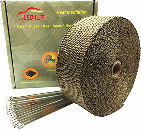 Exhaust Heat Wrap >> Ledaut 2 X 50 Titanium Exhaust Heat Wrap Roll For Motorcycle Fiberglass Heat Shield Tape With Stainless Ties