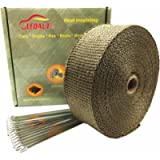 LEDAUT 2' x 50' Titanium Exhaust Heat Wrap Roll for Motorcycle Fiberglass Heat Shield Tape with Stainless Ties