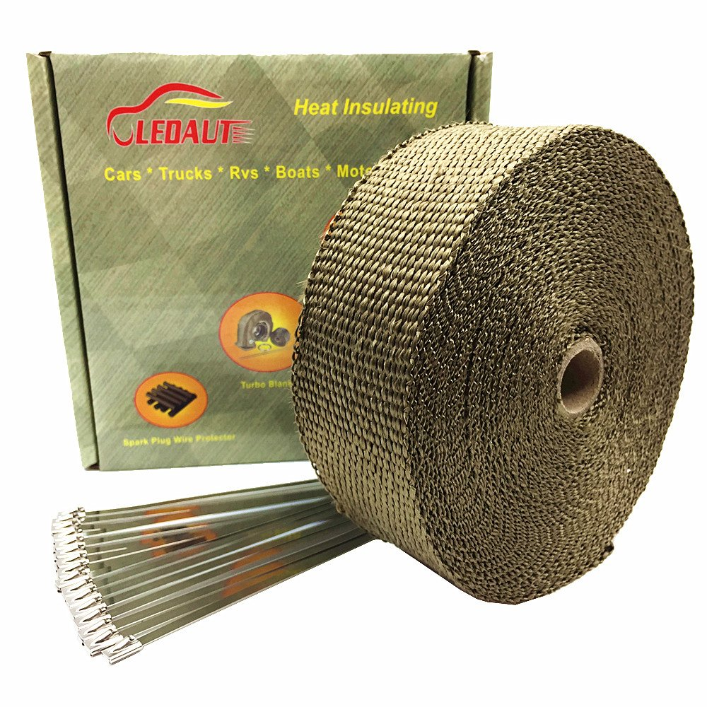 LEDAUT 2'' x 50' Titanium Exhaust Heat Wrap Roll for Motorcycle Fiberglass Heat Shield Tape with Stainless Ties