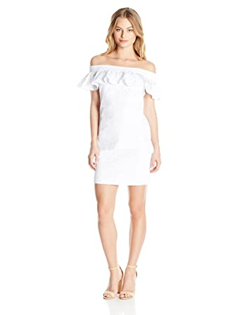 2501bcd290d0d Calvin Klein Women s Petite Off Shoulder Cotton Eyelet Dress at Amazon  Women s Clothing store